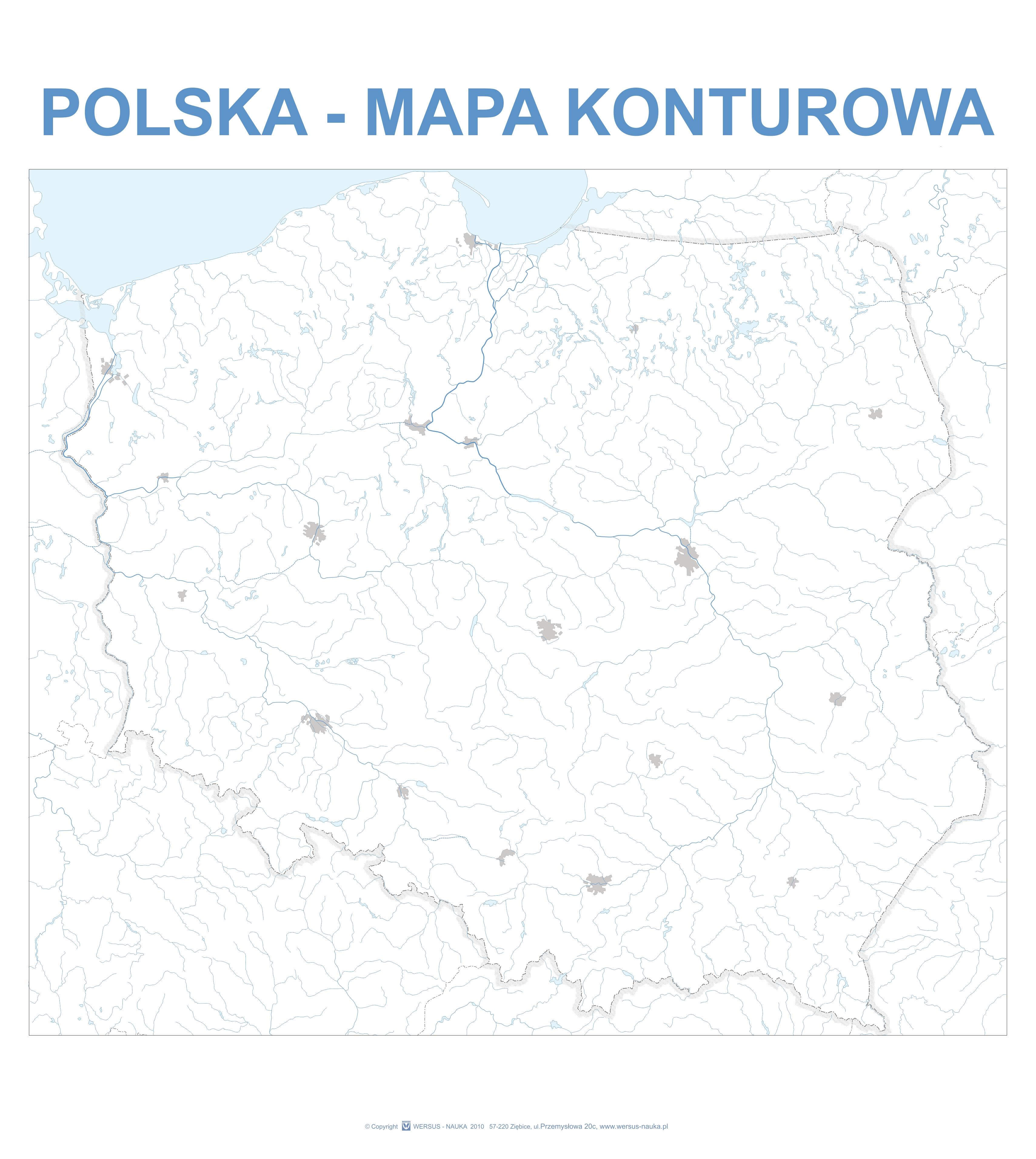 Mapa Konturowa Polski Z Wyposazeniem 4 Pisaki Suchoscieralne